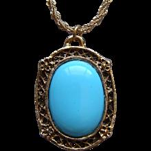 Vintage Whiting and Davis Large Persian Blue Turquoise Pendant Necklace Elegant