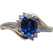 Discontinued Alwand Vahan Sapphire Diamond Sterling Silver 10 Karat Gold Ring