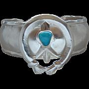 Large Impressive Sterling Silver Sky Blue Turquoise Naja Cuff Bracelet Very Nice