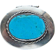Vintage Sterling Silver Turquoise Eagle Mark Mexico Pill Trinket Snuff Box Nice