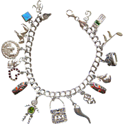 Wonderful Long Sterling Silver Charm Bracelet 17 Charms Cell Phone Heart Purse