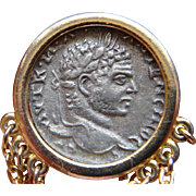 Vintage Gold Filled Roman Ancient Coin Jacket Pin Brooch Extraordinary Charming