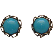 Vintage Yellow Gold Filled Turquoise Stud Earrings 6 Millimeter Cute