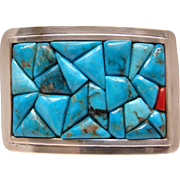 Vintage Sterling Silver Turquoise and Coral Cobblestone Signed Belt Buckle Nice
