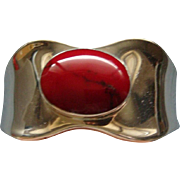 Vintage Made in Mexico Sterling Silver Bright Red Jasper Cuff Bracelet Awesome