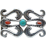 Vintage Sterling Silver Turquoise and Coral Sand Cast Belt Buckle