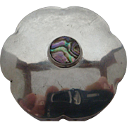 Vintage Sterling Silver Abalone Snuff Pill Trinket Box Made in Mexico Eagle Mark