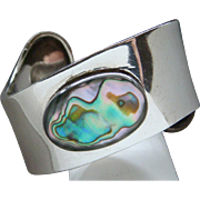Vintage Made in Mexico Sterling Silver Rainbow Abalone Cuff Bracelet Awesome