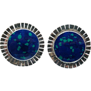 Vintage Sterling Silver Azurite Malachite Made in Mexico Round Earrings Clipback