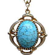 Vintage Bell Trading Post Jewelry Turquoise Blue Colored Glass Pendant Gold Plated Necklace