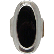 Long Sterling Silver Black Onyx Gorgeous Ladies Right Hand Ring Good Looking