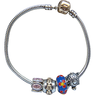 Pandora Sterling Silver 14 Karat Charm Bracelet With 4 Beautiful Beads Lovely