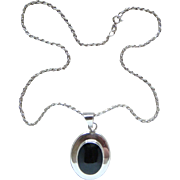 Large Vintage Sterling Silver Black Onyx Made in Mexico Pendant Necklace Lovely