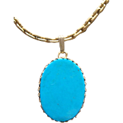 Vintage 14 Karat Yellow Gold Filled Sleeping Beauty Turquoise Pendant Necklace