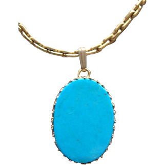Vintage 14 Karat Yellow Gold Filled Sleeping Beauty Turquoise Pendant Necklace