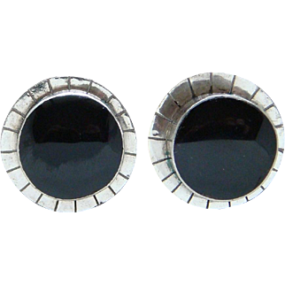 Vintage Sterling Silver Black Onyx Made in Mexico Round Earrings Clip Back Nice