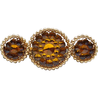 Old Gold Filled Amber Cut Glass Three Circle Ladies Brooch Dress Pin Magnificent