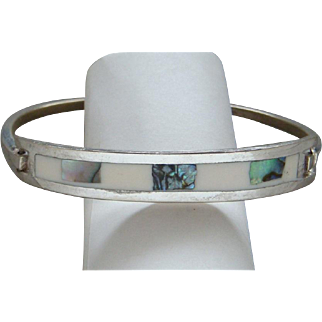 Vintage Sterling Silver White Enamel and Abalone Made in Mexico Bangle Bracelet