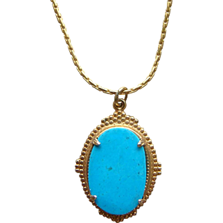 Vintage Yellow Gold Plated Sleeping Beauty Turquoise Pendant Choker Necklace