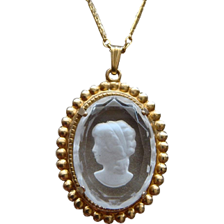 Vintage Gold Filled Cameo Pendant on a Gold Plated Monet Choker Necklace Lovely