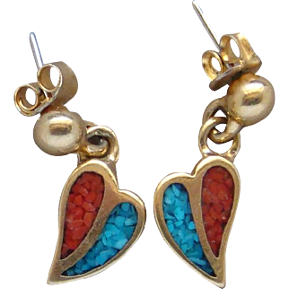 Vintage Turquoise and Coral Chip Inlay Gold Tone Metal Dangle Heart Earrings Old