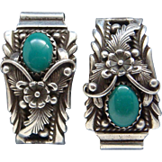 Signed Navajo Sterling Silver Blue Green Turquoise Ladies Watch Band Ends Lovely