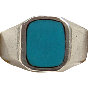 Made in Mexico Sterling Silver Sky Blue Turquoise Handsome Men's Ring Size 11