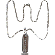 Sterling Silver Signed Oro Maya Cartouche Pendant Mayan Symbols Necklace Lovely