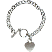Beautiful Sterling Silver Toggle Clasp Round Link Large Heart Charm Bracelet Lovely