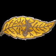 Old Siam Thailand Sterling Silver Yellow Enamel Leaf Brooch Mekkalah Goddess of Lighting