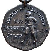 Vintage 1926 Board of Education Sterling Silver Playground Stilts Medal Rare Old