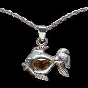 Beautiful Sterling Silver Fancy Goldfish Golden Citrine Pendant Necklace Lovely