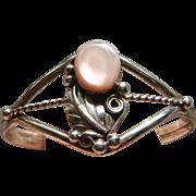 Vintage Sterling Silver Pink Mother of Pearl Signed Navajo Ladies Cuff Bracelet