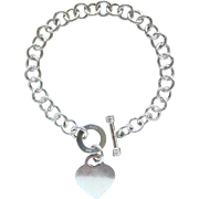 Magnificent Sterling Silver Toggle Heart Charm Rolo Link Bracelet Outstanding