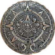 Big Sterling Aztec Calendar Brooch Pendent Combo Eagle Mark Old Mexico Signed