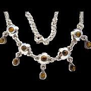 Ladies Fantastic Sterling Silver Tiger's Eye Bib Necklace Adjustable 17-19.5 In