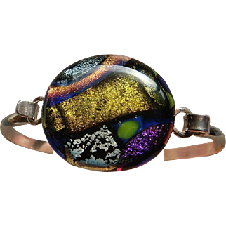 Sparkling Multi Colored Dichroic Glass Sterling Silver Bangle Bracelet Lovely