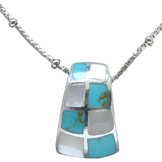 Sterling Silver Mother of Pearl Sky Blue Turquoise Pendant Choker Necklace Nice