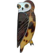 Vintage Made in Mexico Sterling Silver Mother of Pearl Brown Barn Owl Brooch Pin