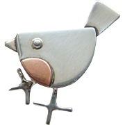 Vintage Sterling Silver Copper Cute Little Robin Red Breast Brooch Pin Charming