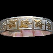 Sterling Silver 14 Karat Gold Hawaiian Honu Turtle Bangle Stack Bracelet Good Luck Nice