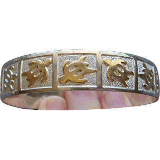 Sterling Silver 14 Karat Gold Hawaiian Honu Turtle Bangle Stack Bracelet Good Luck Nice