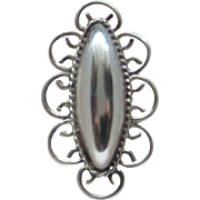 Vintage Large Sterling Silver Fancy Style Concho Ladies Ring Size 9.25 Gorgeous