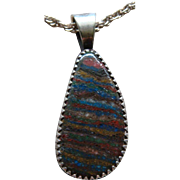 Native American Rainbow Calsilica Signed Pendant Necklace Earth Tones Beautiful