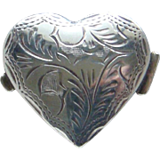 Vintage English Hallmarked Sterling Silver Heart Shaped Snuff Pill Trinket Box
