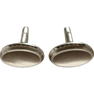 Vintage 1960's Large Sterling Silver Men's Cuff Links Rhodium Plated Handsome