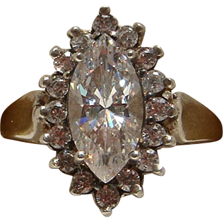 Dazzling Sterling Silver Marquise and Round CZ Ladies Cocktail Dinner Ring Nice