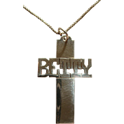 Handmade Sterling Silver Name Cross Betty Christian Crucifix Pendant Necklace