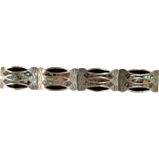 Vintage Made in Mexico Sterling Silver Black Enamel and Abalone Bracelet Lovely