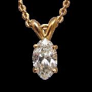 .75 Ct Solitaire Marquise Diamond Pendant 14 Karat Yellow Gold Choker Necklace